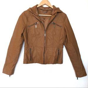 Jou Jou Faux Leather Moto Jacket Size Medium